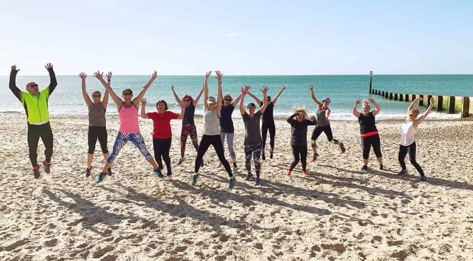 group workout on the beach